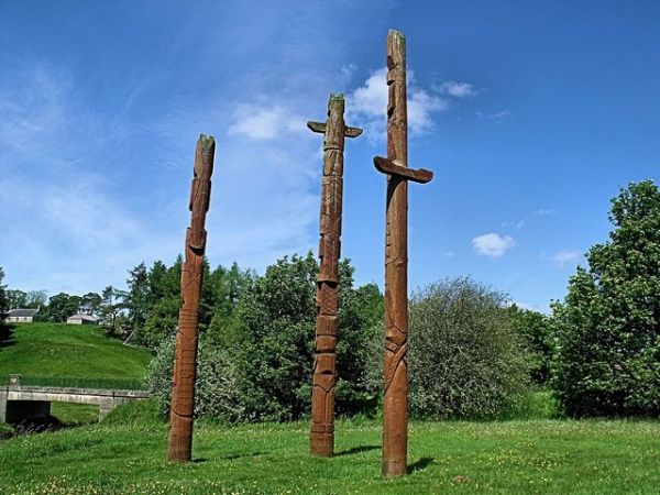 Totem poles at picnic area
