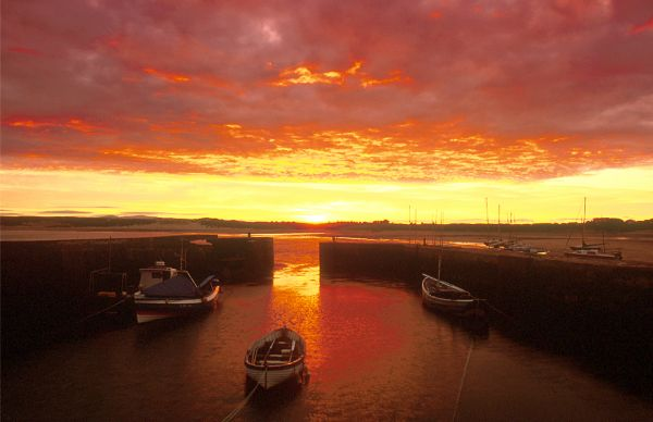 Sunset over Beadnell Harbour