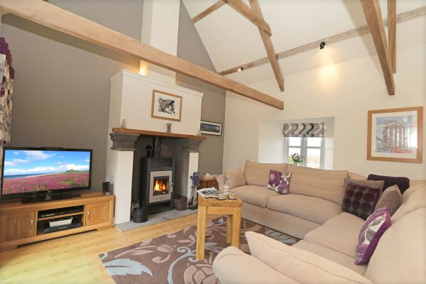 Blue Barn, Bamburgh - lounge with log burner