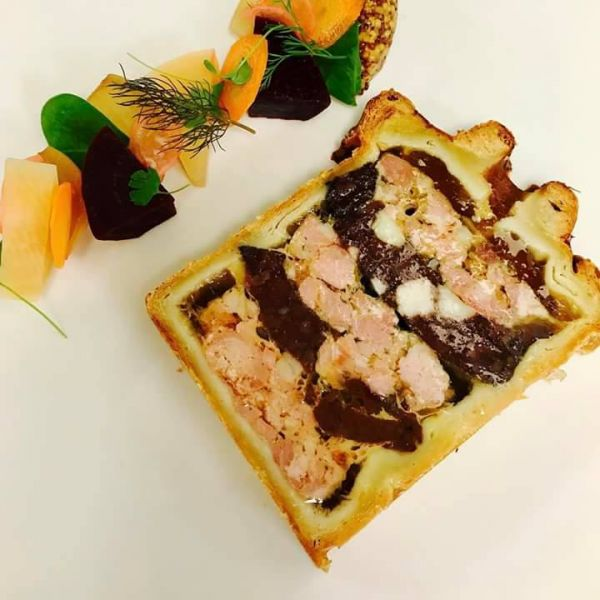Pork & Black Pudding Pate en croute with Pickles & House Mustard