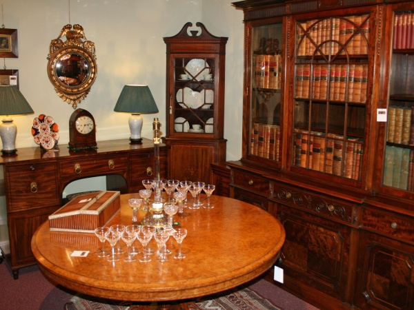 Bookcases and tables