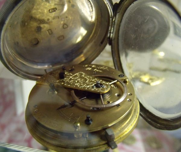 Engraved pocket watch movement