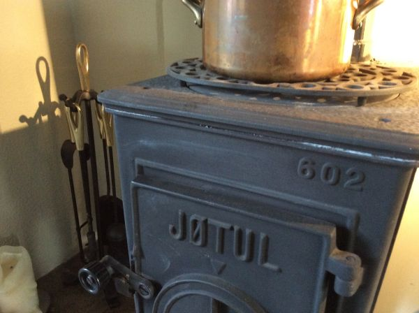 Wood stove in Dining Room
