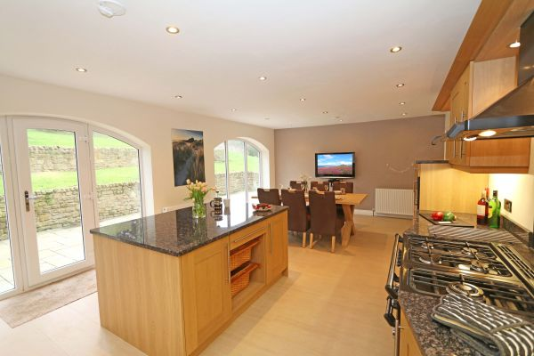 Quarry Haven, Bamburgh, kitchen with flatscreen TV