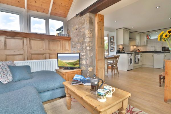 The Bothy, Longhoughton, open plan living area