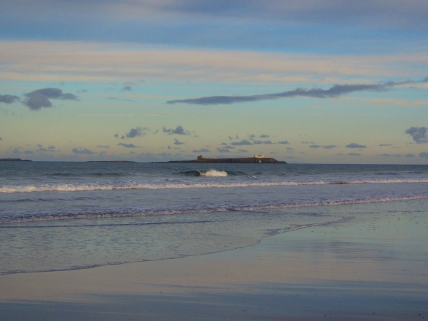 A view of the Farne Islands from Bamburgh Beach