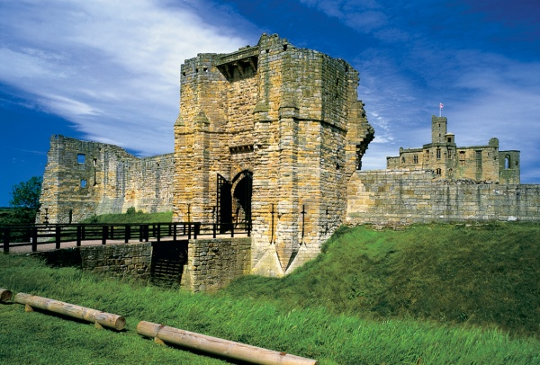 Outside Warkworth Castle