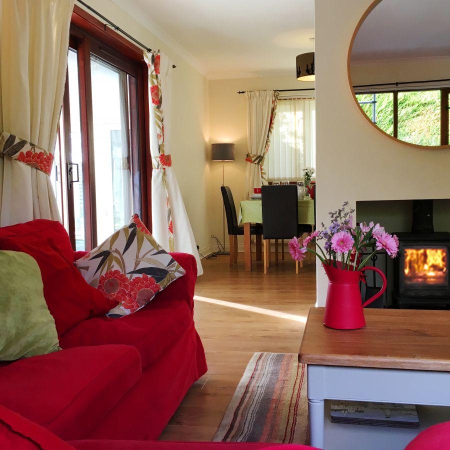 Lodge with wood burning stove