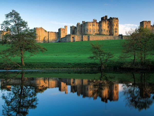 A view of Alnwick Castle is near Hulne Park