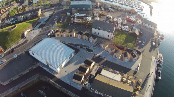 Aerial shot of Amble Harbour Village