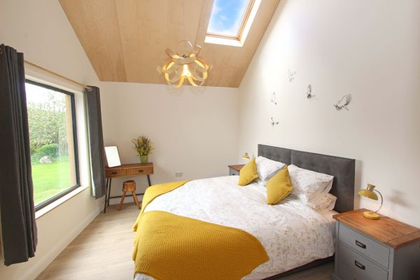 Bridge End Cottage, Rothbury, master bedroom with stunning views