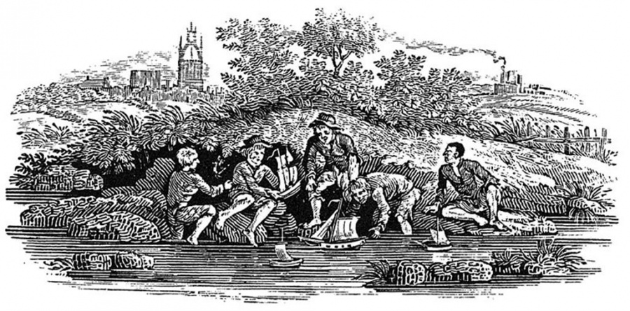Children playing at the river