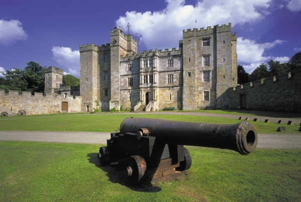 Cannon and castle is near Gardeners Cottage