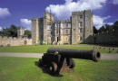 Cannon and castle is near Chillingham Castle