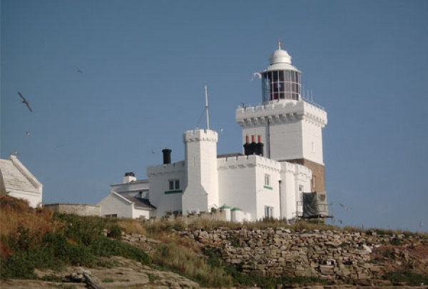 Lighthouse on Coquet Island is near Ferrysyde