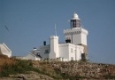 Lighthouse on Coquet Island is near Warkworth Castle