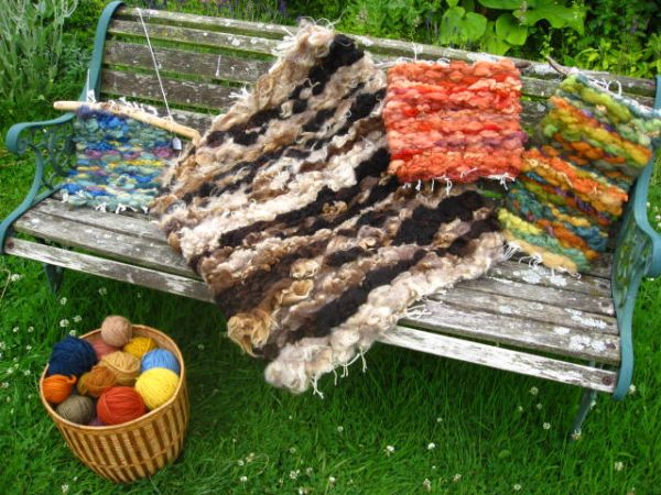 Peg loom weaving with plant dyed wool