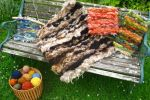 Peg loom weaving with plant dyed wool is near The Smithy at Crookham