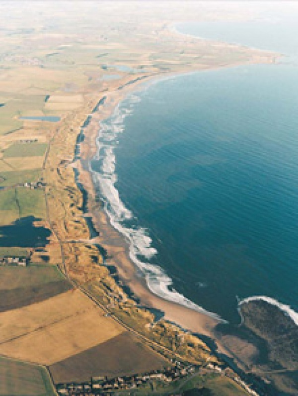 Aerial shot of Druridge Bay is near Golden Sands Holiday Park