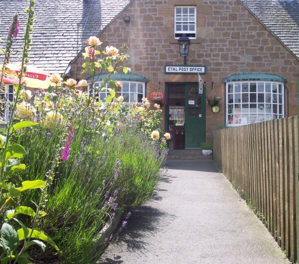 Outside Etal Post Office Shop and Tearoom is near Boathouse Cottage