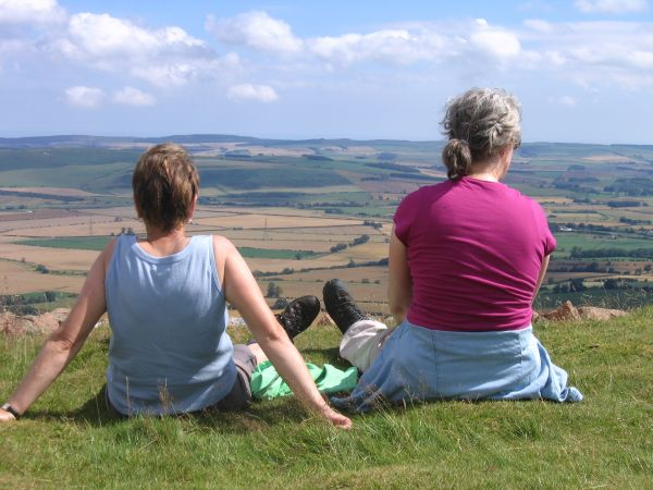 Taking in the view from Humbleton Hill