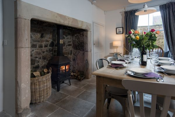 Grove House, dining room and fire place