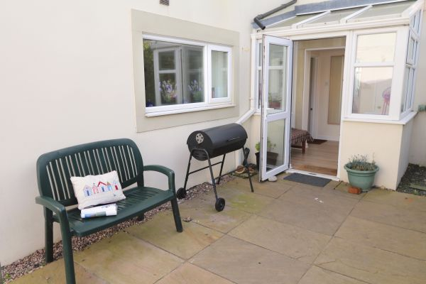 Harbour House, Craster, patio area