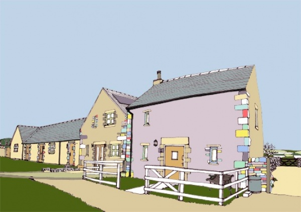 Artists impression of High Broadwood Hall Cottages is near Allendale Forge Studios