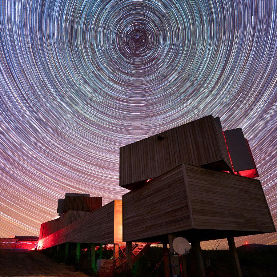 Star trails above Kielder Observatory