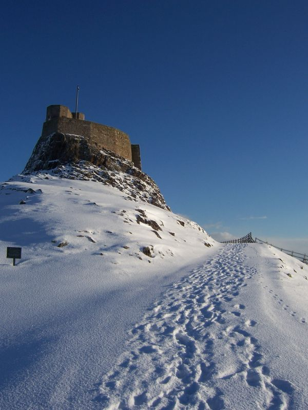 Snowy Castle is near Lindisfarne Mead