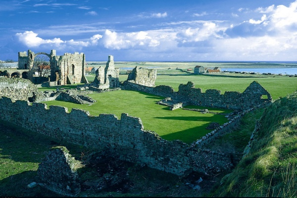 Outside Lindisfarne Priory is near Alistair Moffat: To the Island of Tides