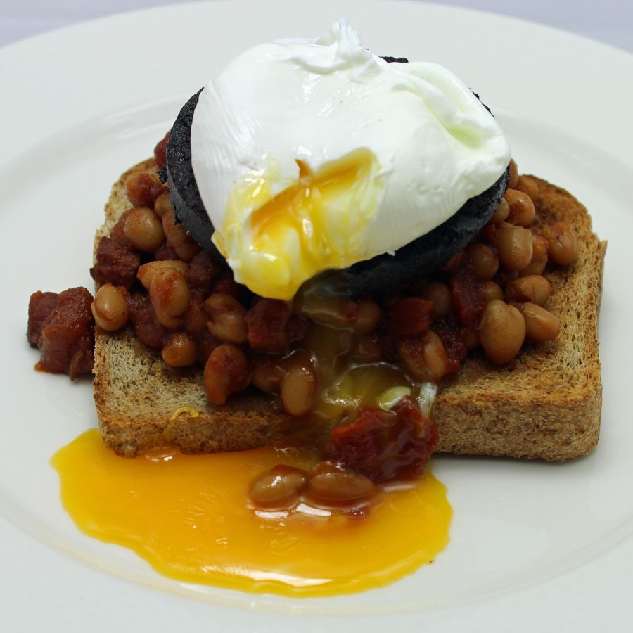 Homemade baked beans on toast