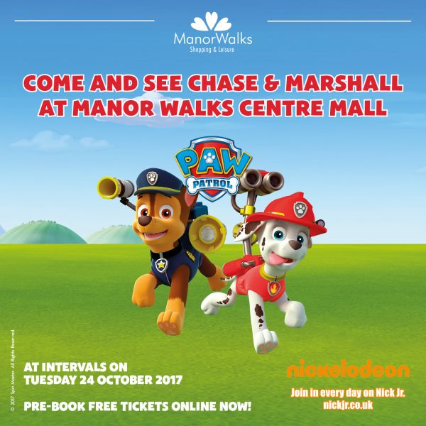 PAW Patrol heroes Chase & Marshall are at Manor Walks!