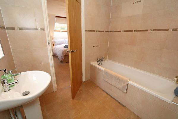 Quarry Haven, Bamburgh, double bedroom with en-suite bathroom with shower facilities