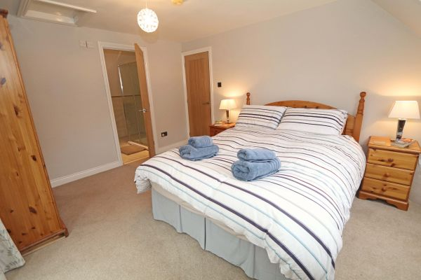 Quarry Haven, Bamburgh, master bedroom with ensuite and juliet balcony