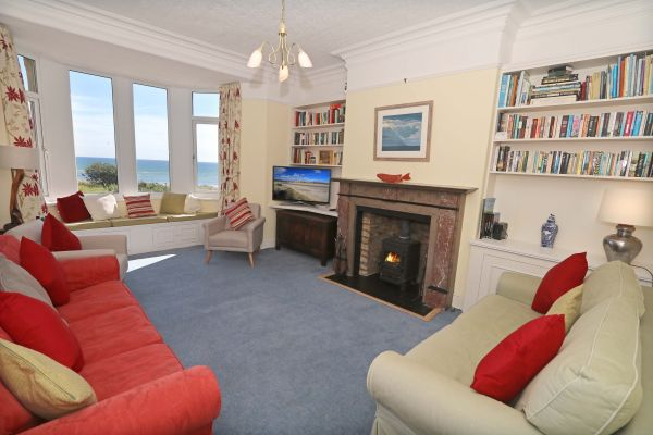 Riverside, Alnmouth, living room with view