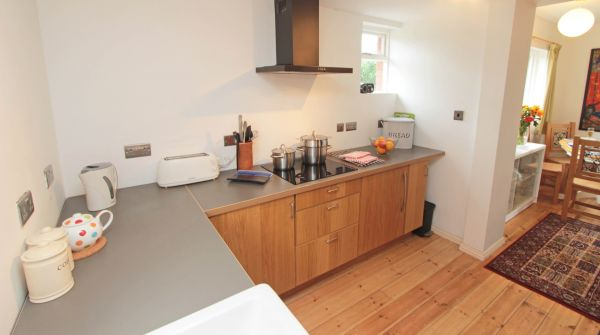 Rock Moor Farm Cottage, open plan kitchen with double belfast sink and utility room