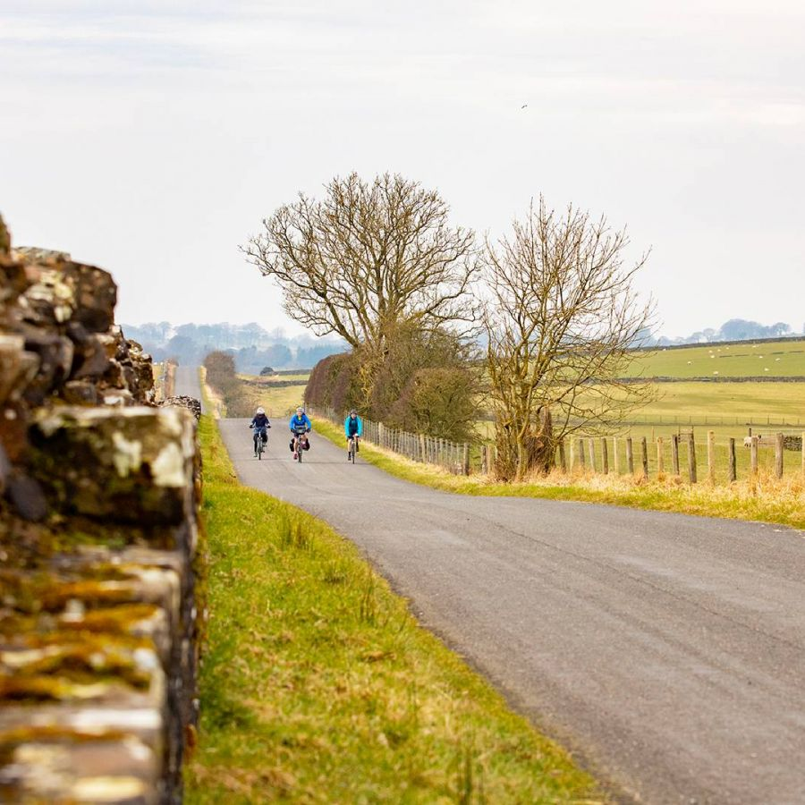 Cyclists at Hadrian's Wall