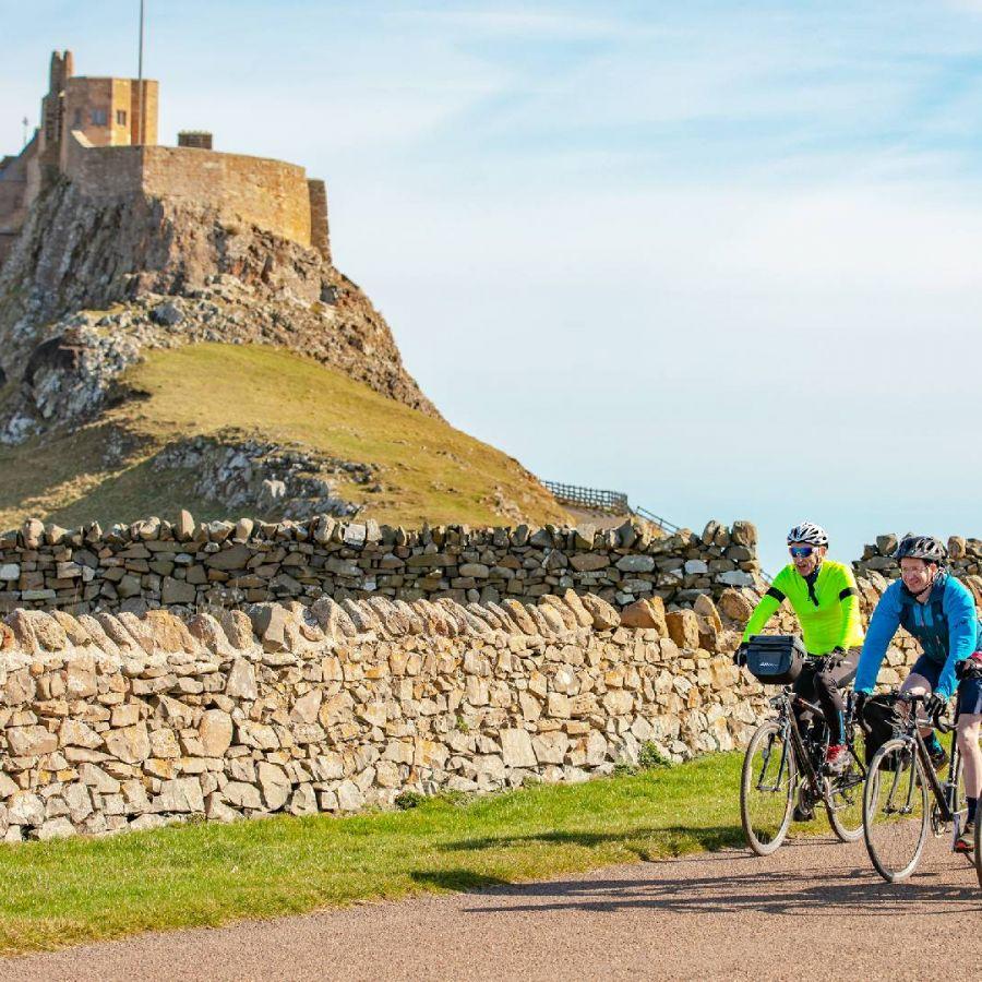 Cyclists at Lindisfarne