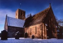 Winter scene at St Andrews Church in Bywell is near School Row