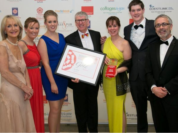 The team, receiving our 'Best B&B in England 2014' prize at the glittering VisitEngland Awards