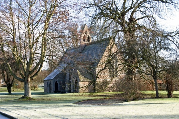 Exterior of St Mary's at Etal is near Till Fishing Holidays
