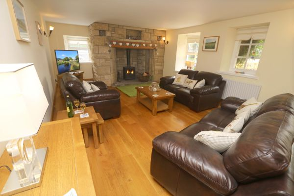 Star House, Rothbury, lounge with fireplace
