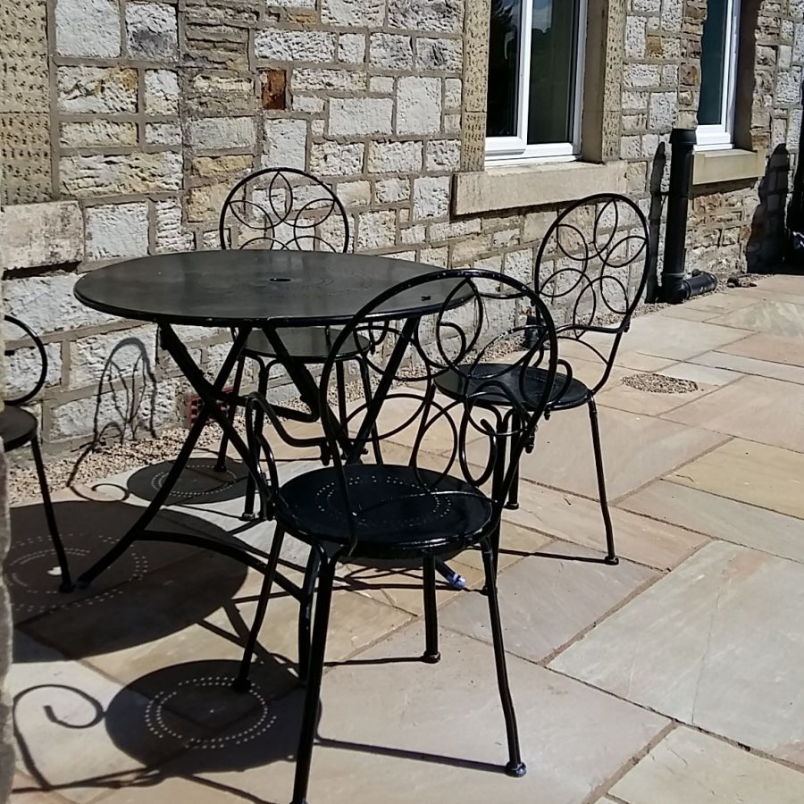 Table on stone patio