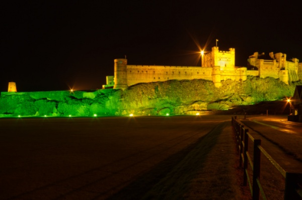 Bamburgh Castle at night