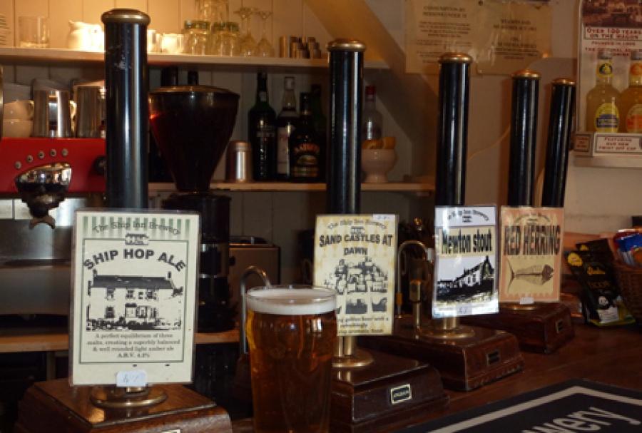Beer pumps on Bar
