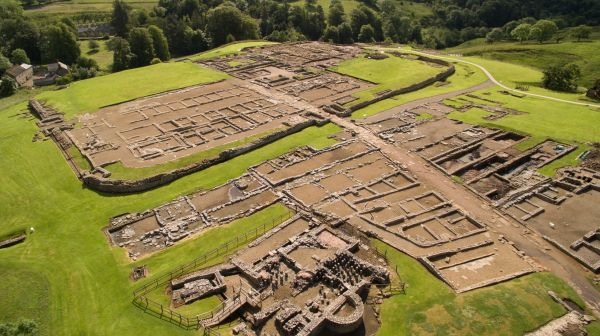 Vindolanda from the air is near Shaftoe's Guest House