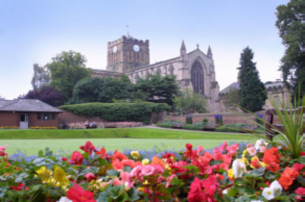 Hexham Abbey and bowling gree