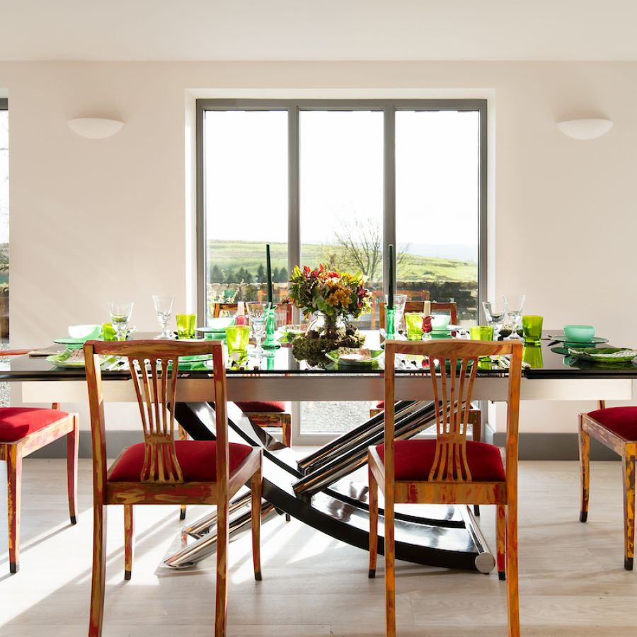 Walltown Byre - dining table with a view