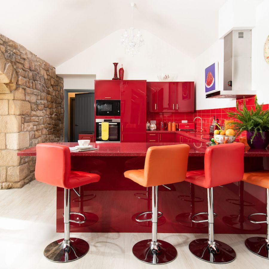 Walltown Byre - pillar box red kitchen